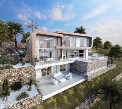 Unieke design villa met zeezicht in Moraira